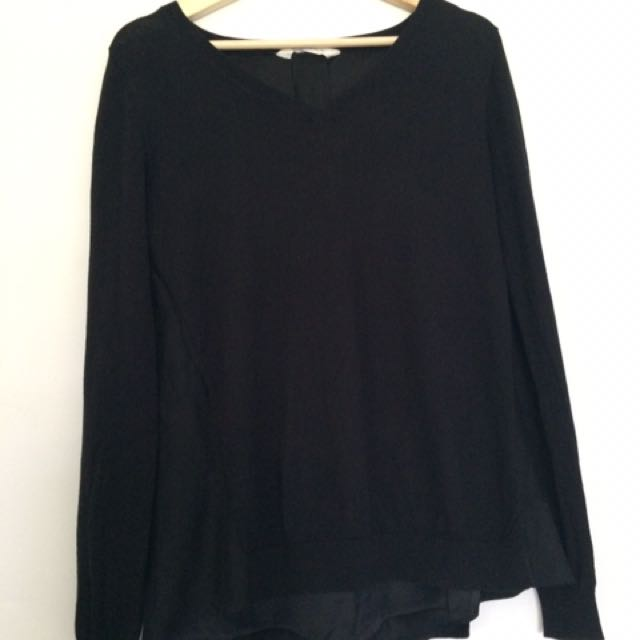 Black SEED Wool Knit With Silk Underlay