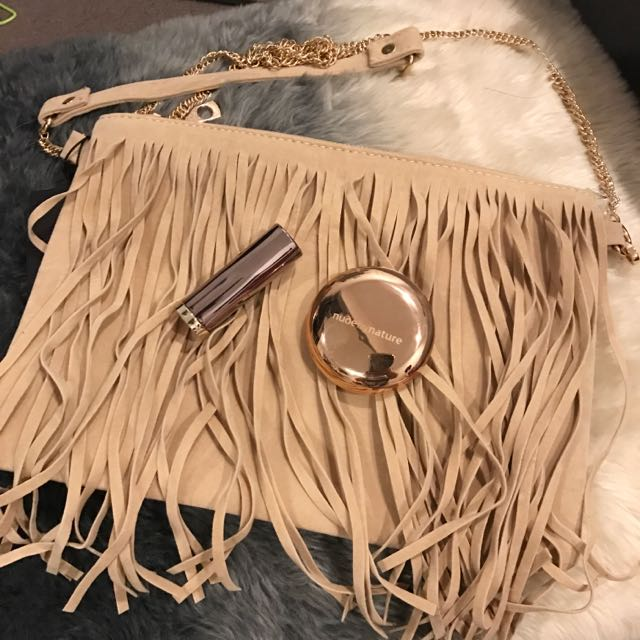 BRAND NEW CAMEL FRINGE CLUTCH BAG