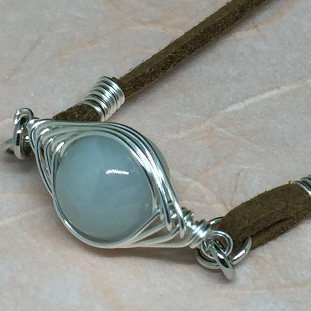 Brown Leather Jadeite Bracelet (C110)