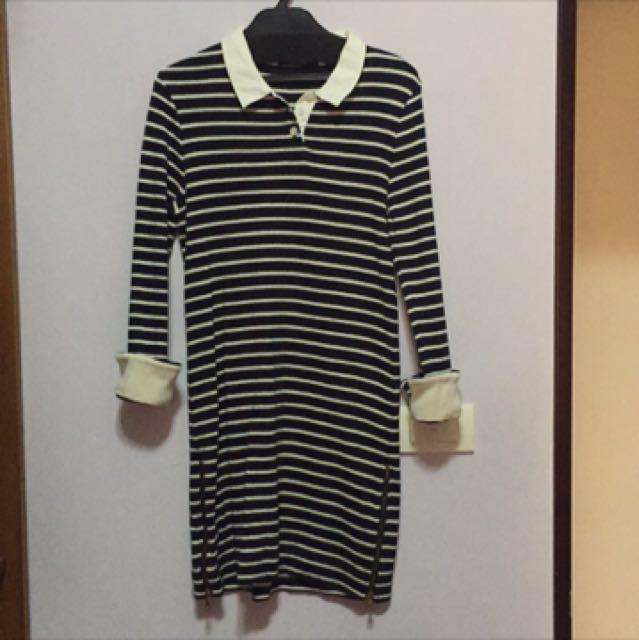coco deal 長袖/七分袖條紋洋裝