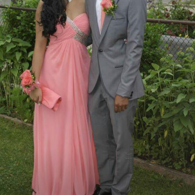 Coral Pink Prom Dress