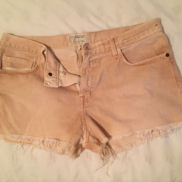 Current/Elliot Coral Denim Shorts