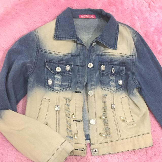 Denim Beads Ombre Jacket