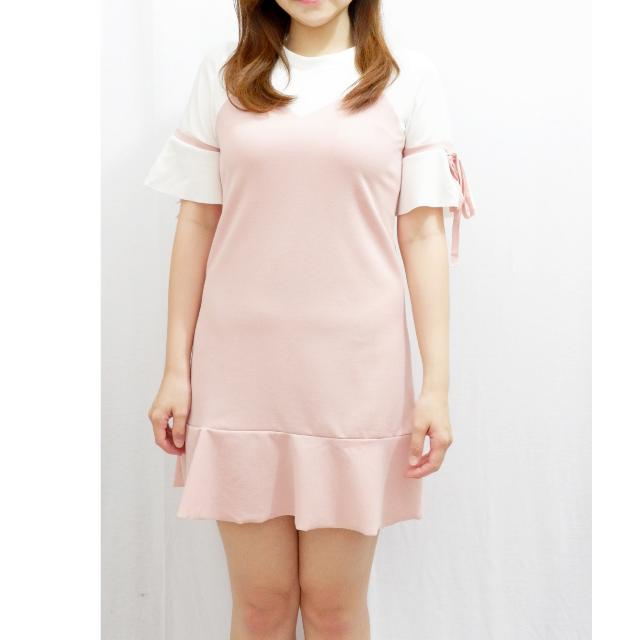 Dress Wanita Warna Pink Import