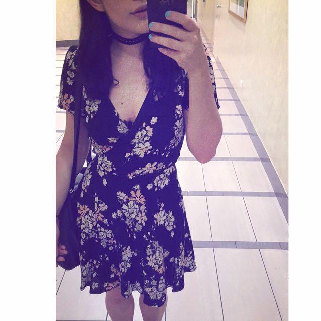 Floral Low Neck Dress