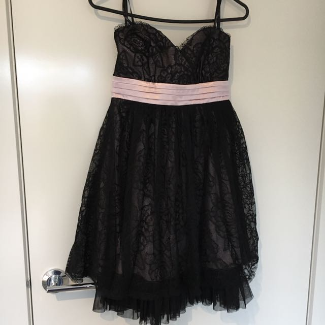 Forever New Black Lace Evening Dress