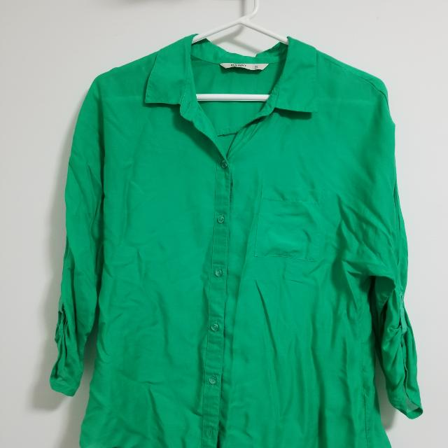 Green Button Up