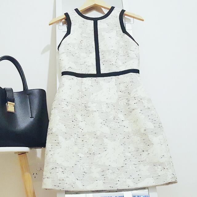 H&M DRESS White Black Tweed Monochrome AU 8 Small