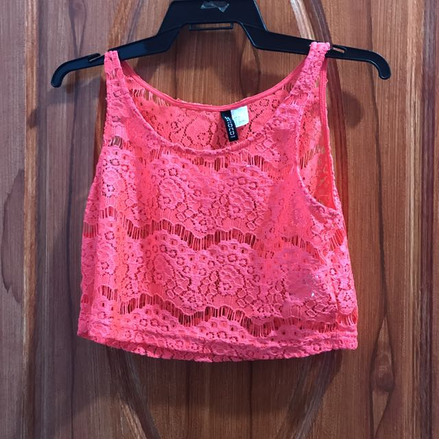 H&M Neon Pink Lace Cropped Top