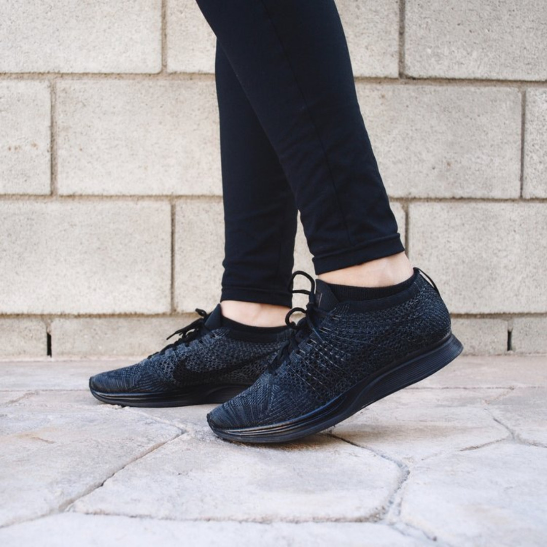6350c6930ea2 ... amazon in stock uk9 flyknit racer triple black midnight black nike mens  fashion footwear on carousell