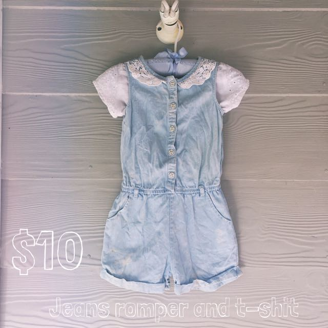Jean Romper With T-shirt