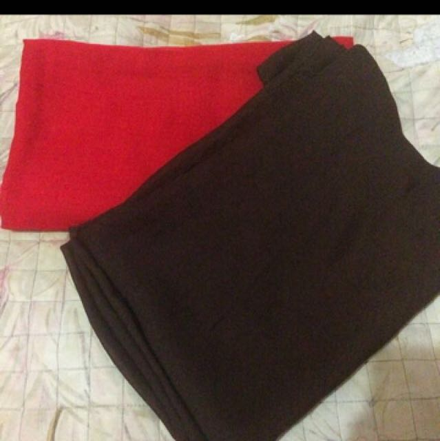 Jilbab Segi4 Hitam Dan Merah 2pcs 10k