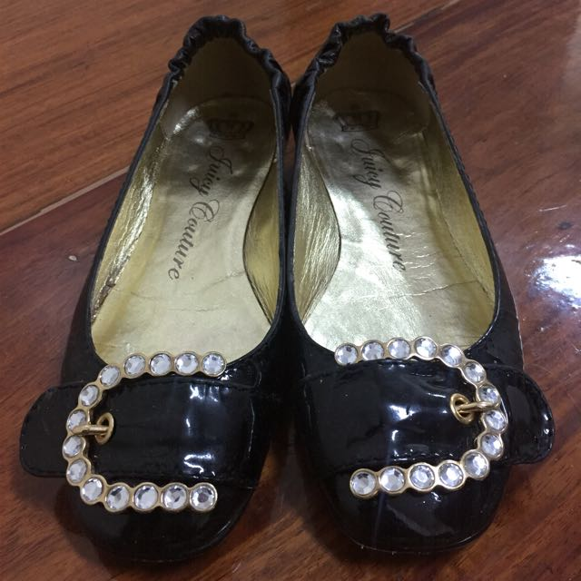 JUICY COUTURE 'ELSE' BLACK PATENT LEATHER JEWELED BUCKLE BALLET FLATS