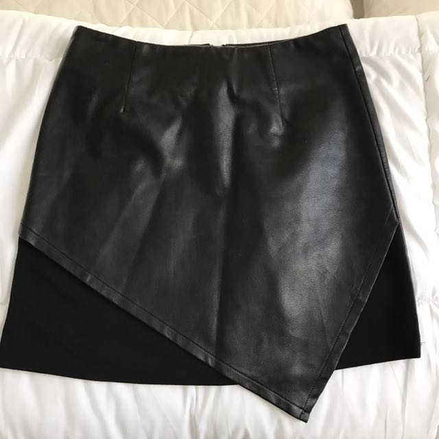 Leather Look Black Skirt