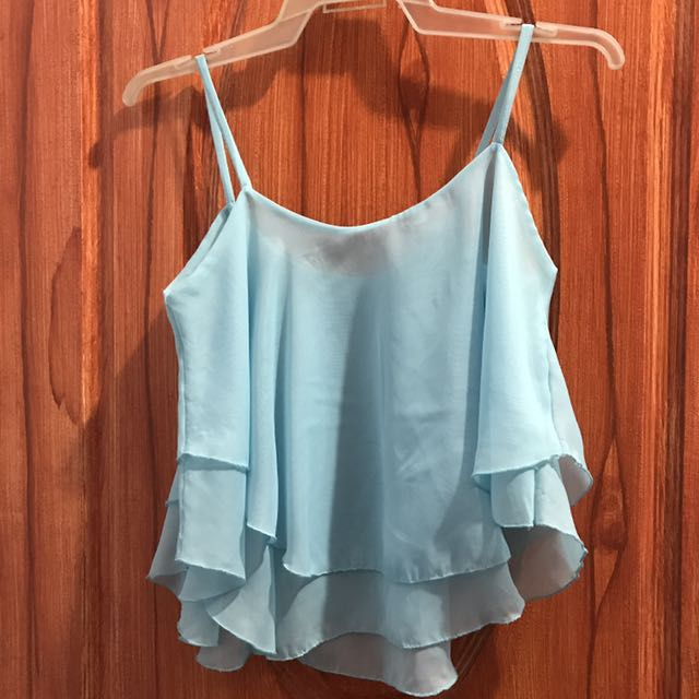 light blue chiffon top