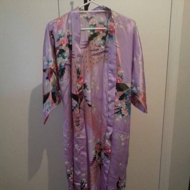 Make An Offer: Long Purple Satin Asian Robe/Kimono