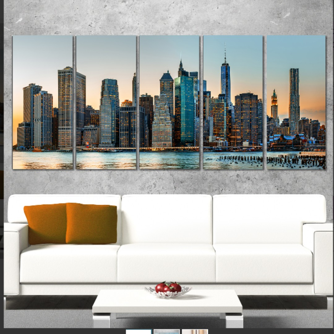 New York City Skyline 5 Piece Photographic Print on Wrapped Canvas Set