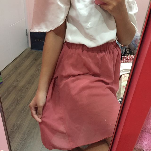 Pink Asymetric Skirt