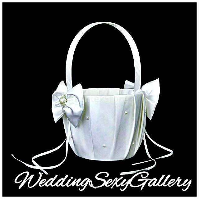 #20🌹◾PREORDER◾🌹 White Satin Bowknot Wedding Flower Girl Basket Faux Pearl Rhinestone Decor