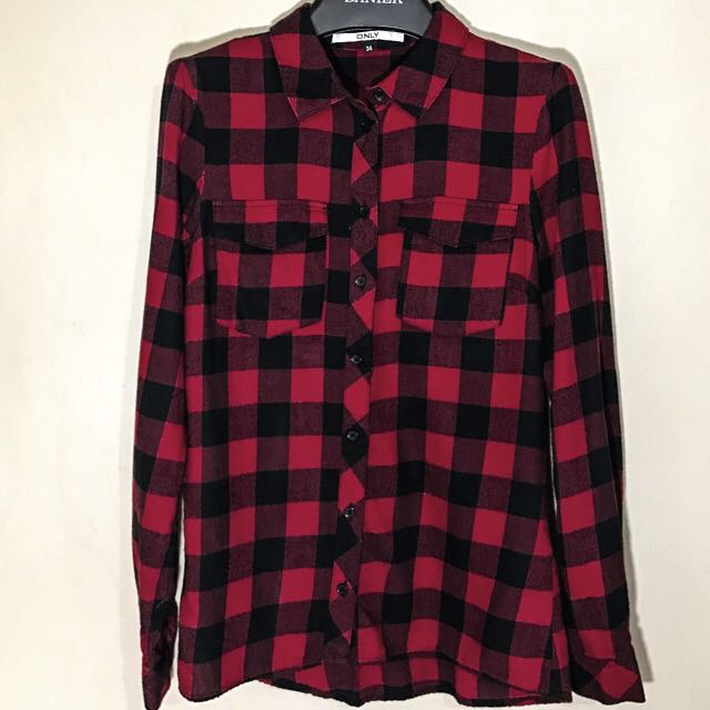 Red And Black Checkered Plaid Button-up