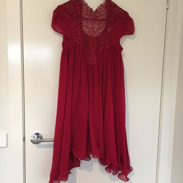 Red High Neck Embroidery Swing Dress