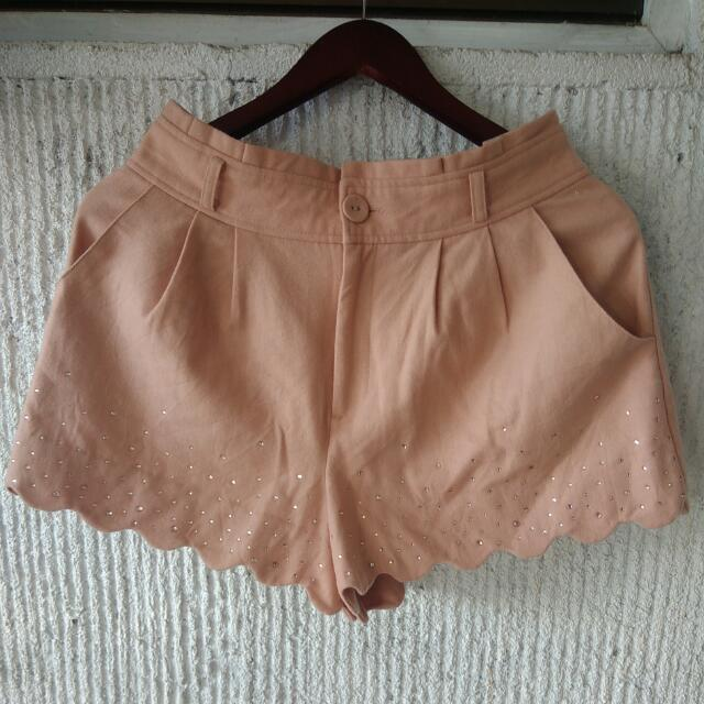 Salmon Pink Studded Shorts