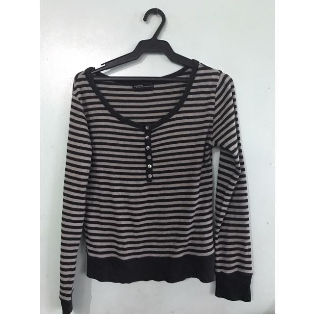 Striped Black And Gray Long Sleeved Sweater