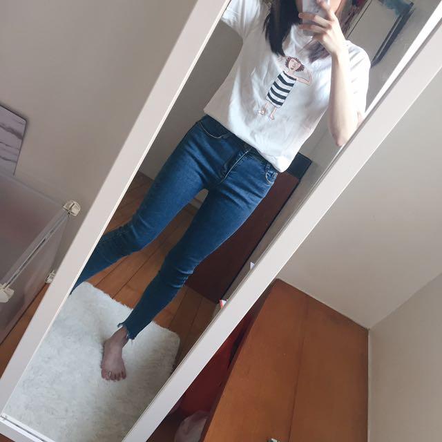 韓版趣味女孩插畫短袖T恤