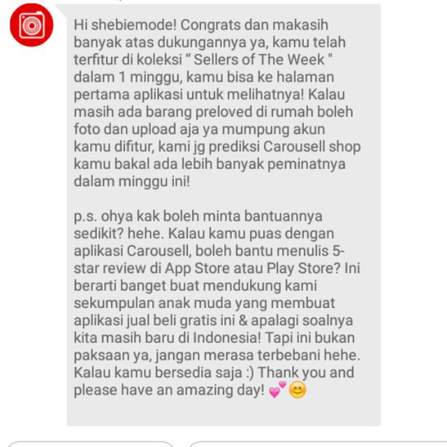Thanks carousell