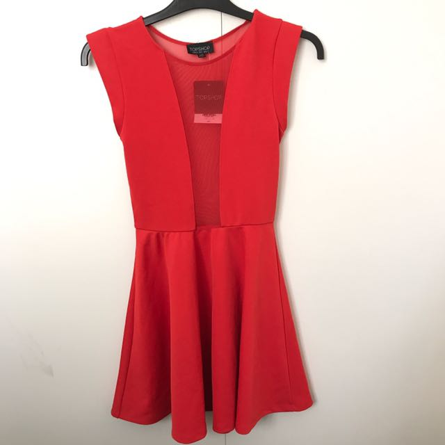 Topshop Red Skater Dress