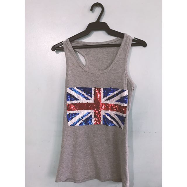 UK Flag Sequined Tank Top