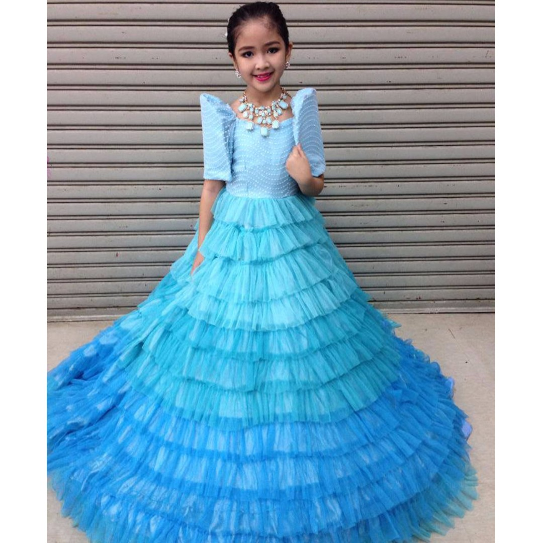 VERY PRETTY AND ELEGANT OMBRE RUFFLED GOWN GIRLS KIDS WITH NECKLACE ...