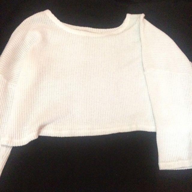 White Sweater crop top