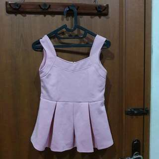 Tank Top Pink Scuba Wedges Peplum
