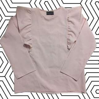 粉紅色河葉邊長袖衫 上衣