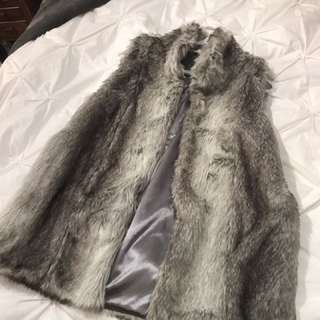 Grey Faux Fur Vest (M)