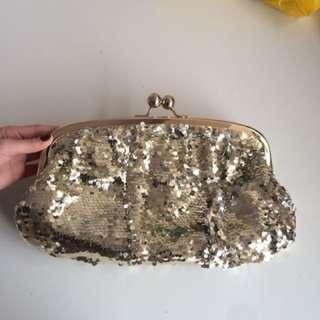 Aldo Gold Sparkly Evening Clutch. Brand New
