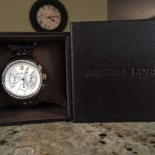 MARK DOWN!! Michael Kors Silver And Gold Diamond Encrusted