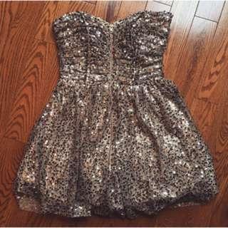Betsy Adam Gold Sequinned Dress