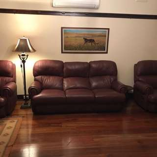 Deep Brown Leather 3 Piece Sofa Set