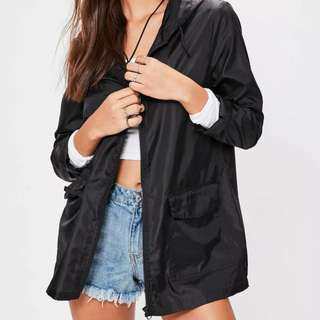 Missguided Black Hooded Pac A Mac
