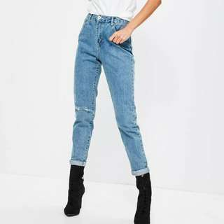Missguided Blue Riot Ripped Mum Jeans