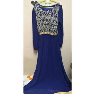 [FOR RENTING] Blue Evening/Prom/Dinner Dress With Gold Ribbon Waist Rubber Line And Floral Gold Top Lace