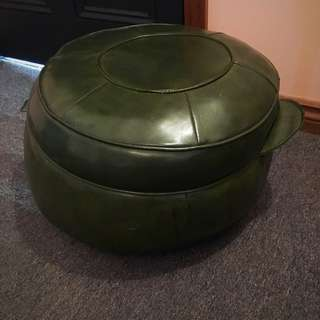 Round Faux Leather Foot Rest