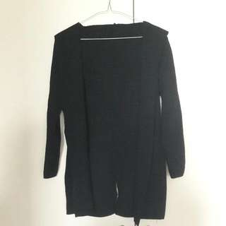 Long Black Hooded Seamless Cardigan