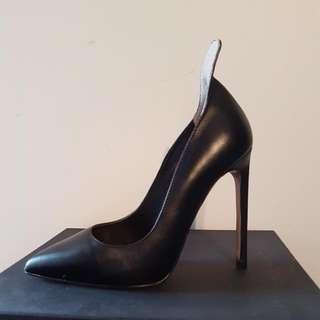 Tony Bianco Black Leather Heels