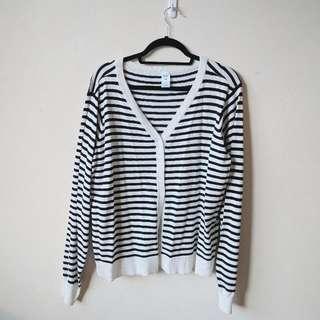 Black And White Striped Cardigan XXL