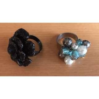 Ladies Dress Fashion Costume Jewellery Rings X 2