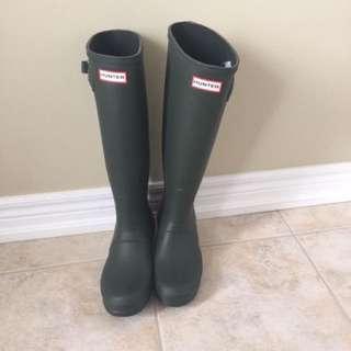 Hunter Green Rain Boots Tall