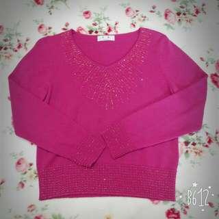 桃紅珠珠點綴針織上衣 #一百元上衣